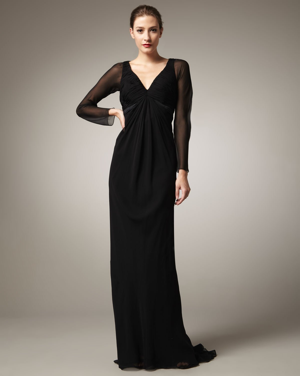 Lyst - Pamella Roland Long-sleeve Chiffon Gown in Black