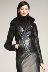 Ralph Lauren Collection Shearling-collar Motorcycle Jacket - Lyst