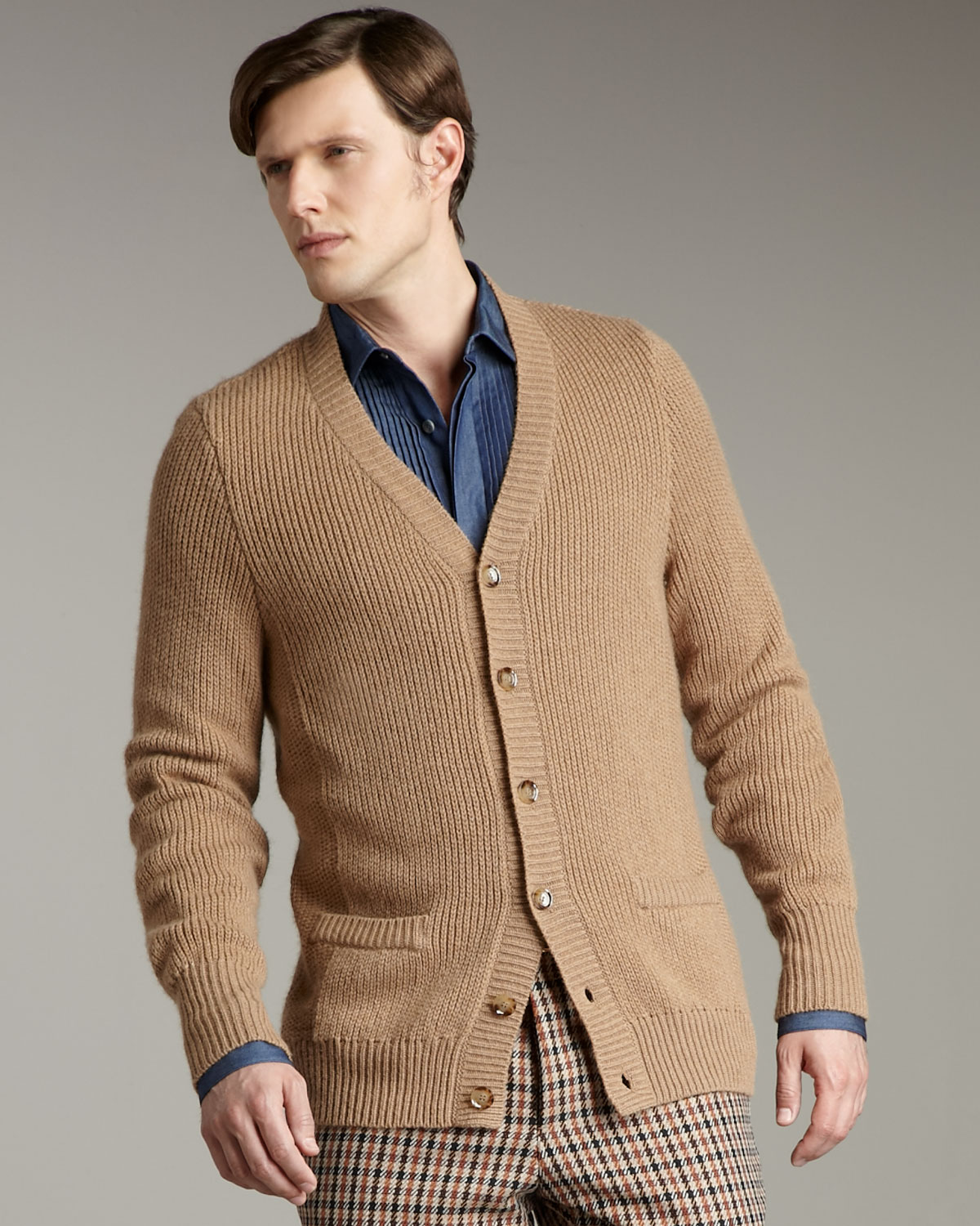 Valentino Ribbed Cardigan in Natural for Men | Lyst