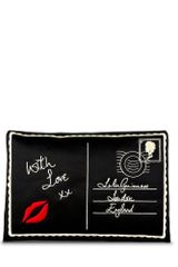 Lulu Guinness Black Satin Postcard Felicity Clutch - Lyst