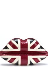 Lulu Guinness Union Jack Snakeskin Lips Clutch - Lyst