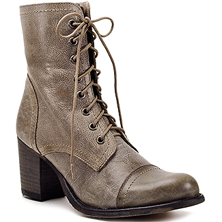 Steve madden Graanie - Stone Leather Combat Boot with Heel in ...