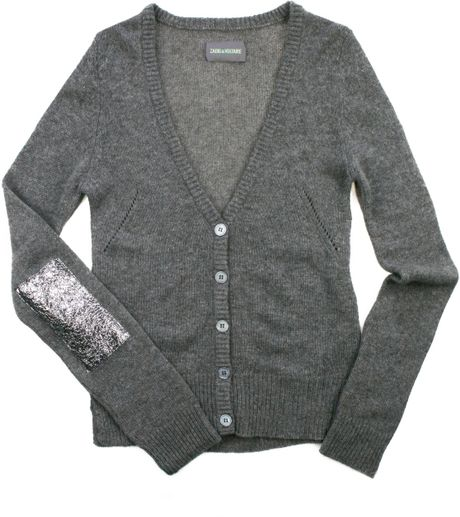 Zadig & Voltaire Cardigan Oreade Bis Cashmere in Gray (slate) - Lyst