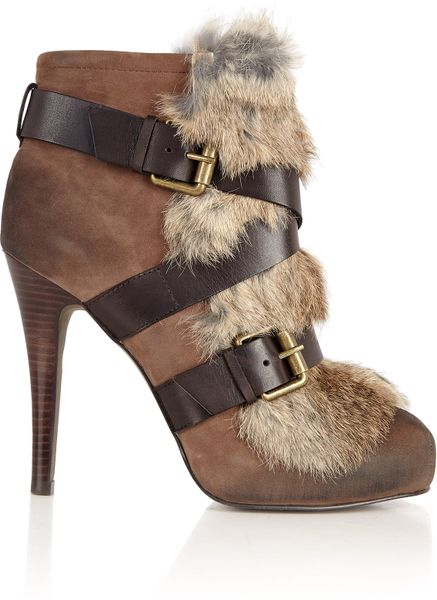 Ash Brown Emma Fur Buckle Boot in Brown - Lyst