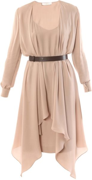 Chloé Double Layer Dress in Beige (nude) - Lyst