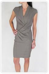 Helmut Lang Gather Drape Dress in Cedar Wool Viscose Suiting - Lyst