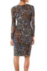 Max Mara Studio Long Sleeve Floral Dress in Multicolor (brown) - Lyst