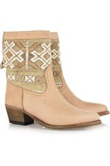 Cobra Society Embroidered Wool and Brushed-leather Ankle Boots