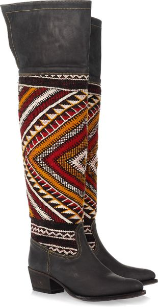 Cobra Society Hand-woven Wool and Brushed-leather Thigh Boots - Lyst