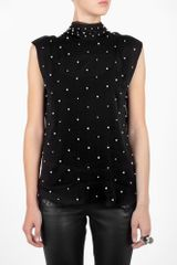D&G Black Sleeveless Sea Pearl Studded Top