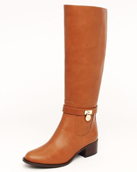 Michael Kors Hamilton Riding Boots in Brown (luggage leather)