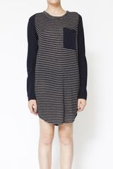 3.1 Phillip Lim Long Sleeve Tshirt Dress with Silk Sleeves in Blue - Lyst