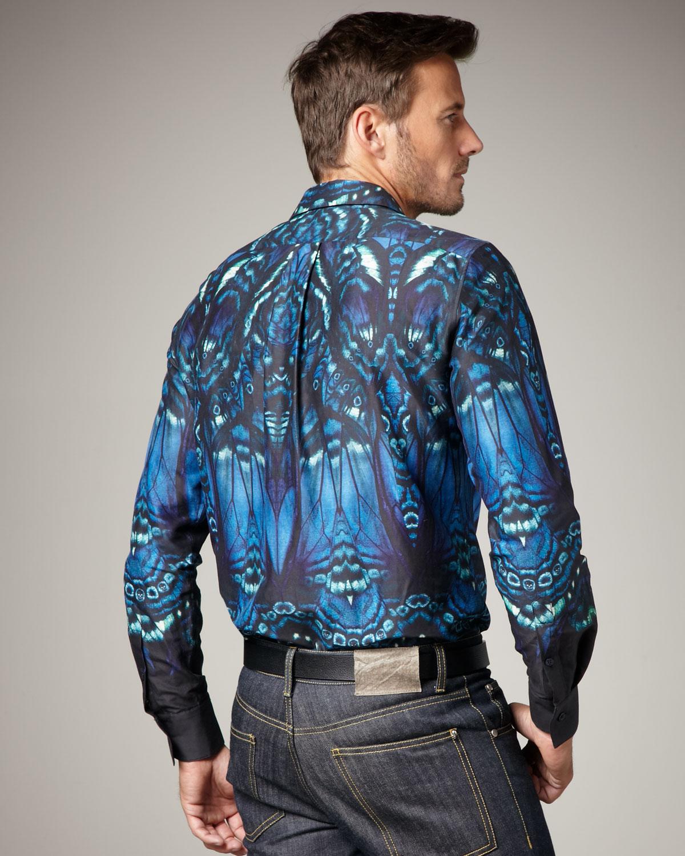 Alexander mcqueen butterfly print shirt in black for men for Alexander mcqueen shirt men