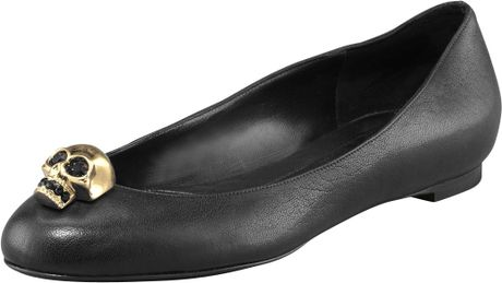 Alexander Mcqueen Skull Leather Ballet Flats in Black