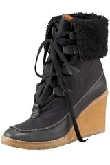 Chloé Lace-up Shearling Wedge Bootie - Lyst