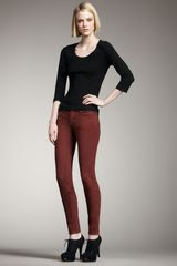 Current/Elliott Bordeaux Skinny Ankle Pants - Lyst