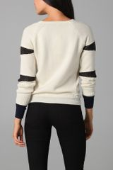 Gryphon Slash Crew Neck Jumper in White (ivory) - Lyst