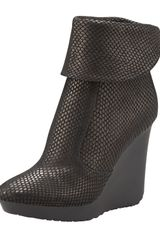 Jimmy Choo Embossed Leather Wedge Bootie - Lyst