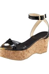 Jimmy Choo Panther Patent Cork Wedge Sandal - Lyst