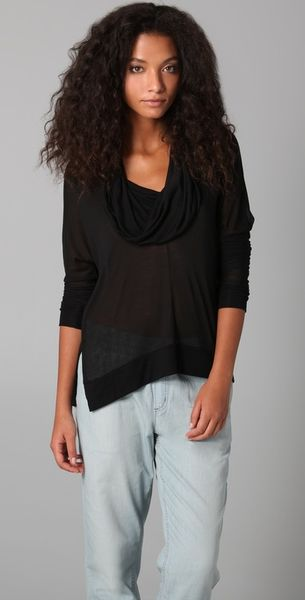 Lanston Split Cowl Neck Top in Black - Lyst