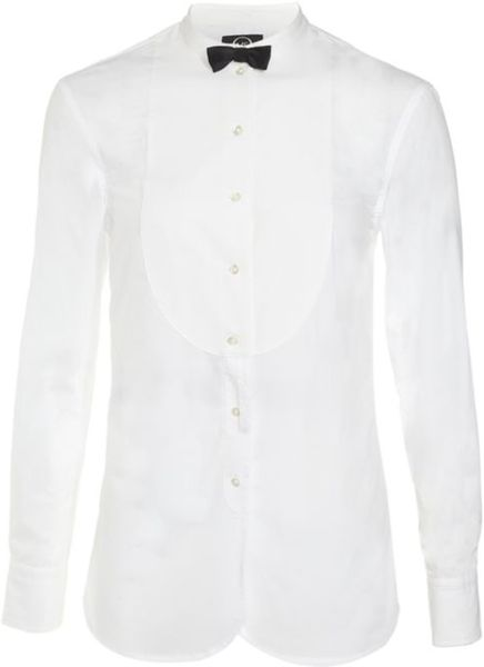 Mcq By Alexander Mcqueen Tuxedo Shirt with Bow Tie in Black - Lyst