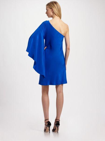 Nicole Miller One Shoulder Silk Dress In Blue Cobalt Lyst
