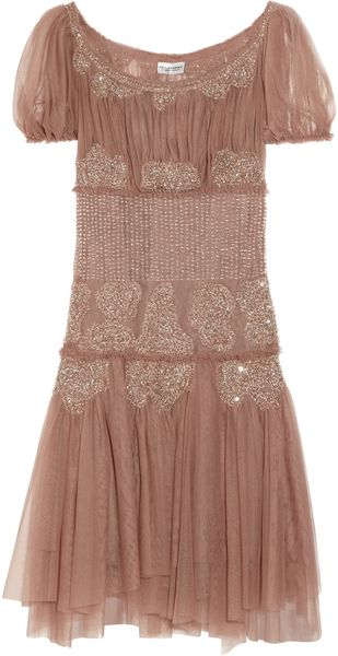 Philosophy di Alberta Ferretti Bead-embellished Mesh Dress - Lyst