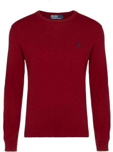 Polo ralph lauren new geelong crew neck jumper in red for