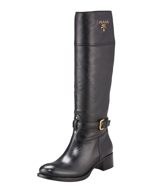 Lyst Prada Logo Flat Riding Boot Nero In Black