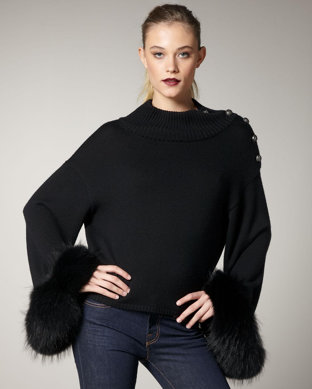 Black Sweater With Animal Fur Cuffs: Alice + Olivia Gilda Fur-cuff Sweater In Black
