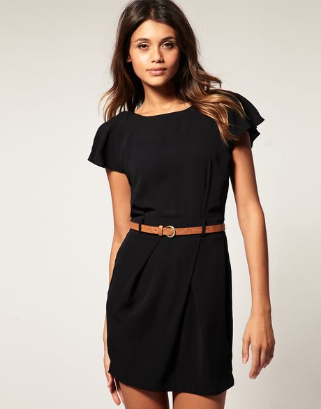 Asos Collection Asos Mini Tulip Dress with Flute Sleeves in Black - Lyst