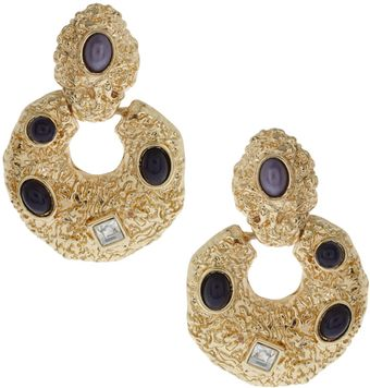 ASOS Collection Asos Clip On Earrings Door-knocker Hammered with Set Pearls - Lyst