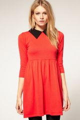 ASOS Collection Asos Petite Exclusive Woven Collar Knitted Dress - Lyst