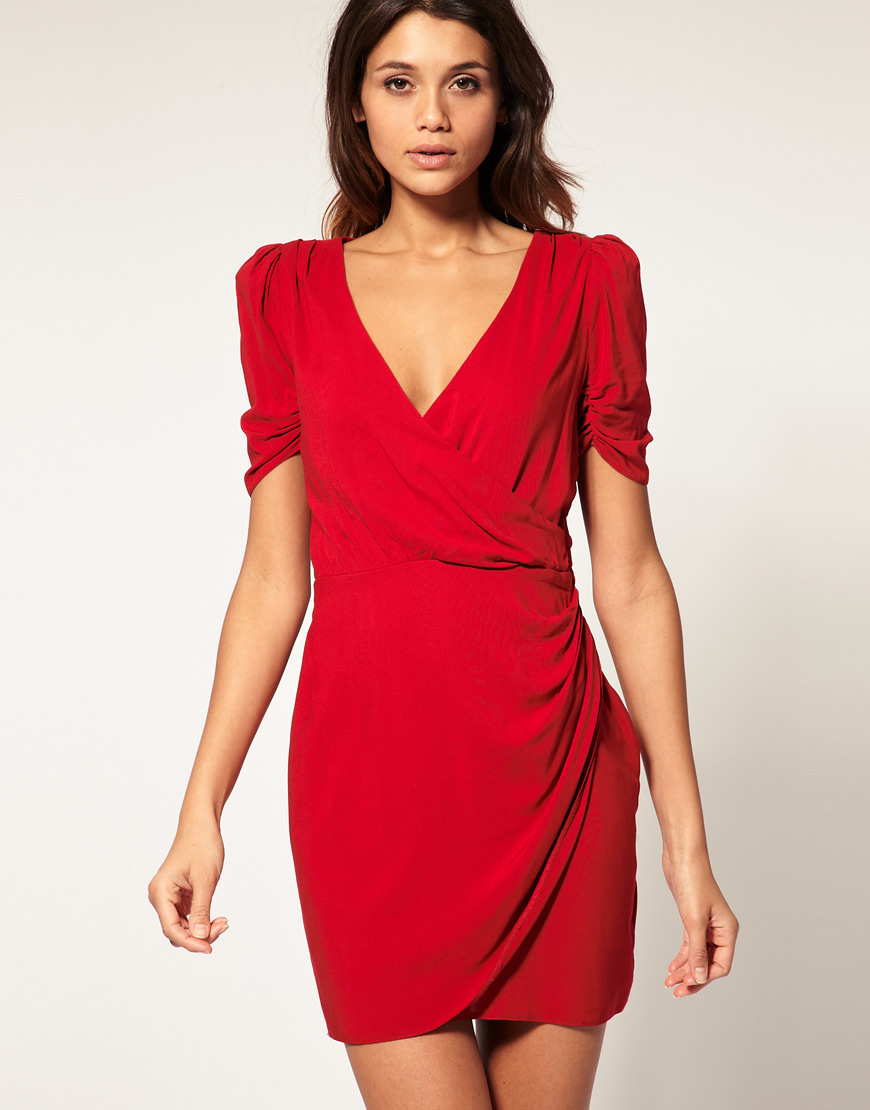 Asos Collection Asos Wrap Dress With Ruched Front In Red