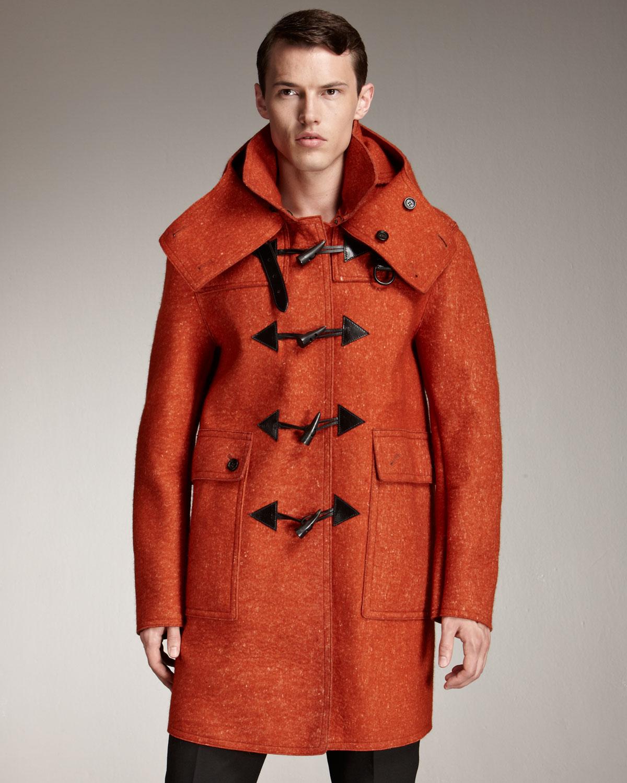 Burberry prorsum Sculptural Felt Duffle Coat in Orange for Men | Lyst