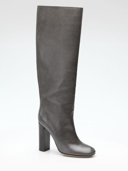 chlo 233 leather knee high boots in gray grey lyst