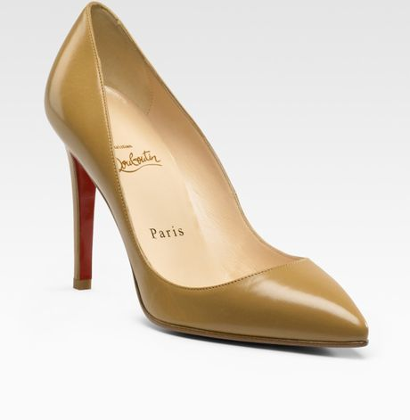 Christian Louboutin Pigalle Pointtoe Pumps in Beige - Lyst
