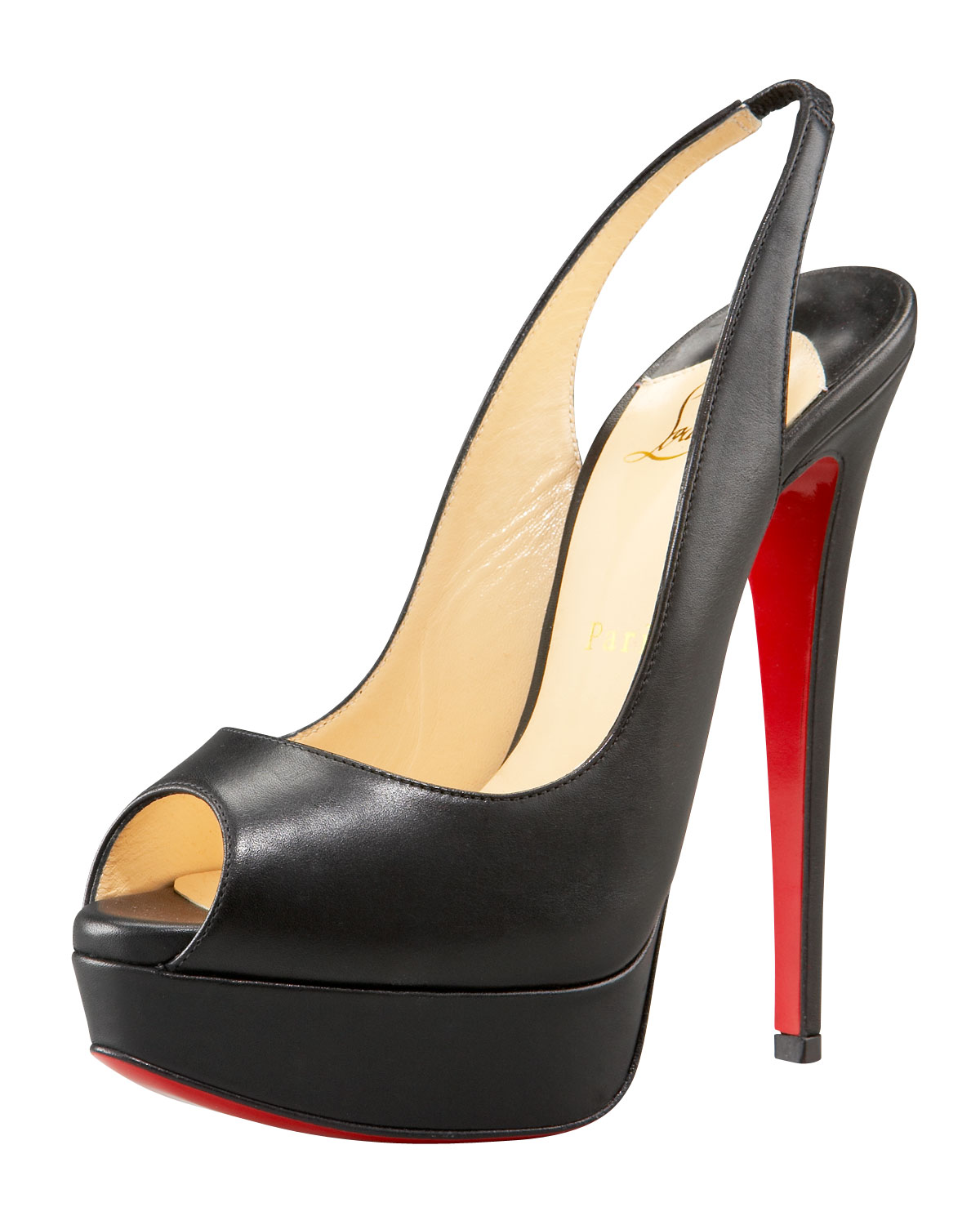 knock off red bottom shoes for women - christian louboutin peep-toe slingback pumps Black satin | The ...