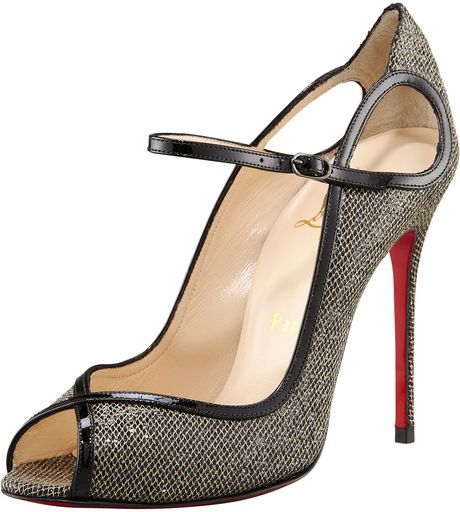 Christian Louboutin Glittered Keyhole Mary Jane in Gray (gold black)