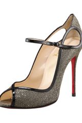 Christian Louboutin Glittered Keyhole Mary Jane in Gold - Lyst