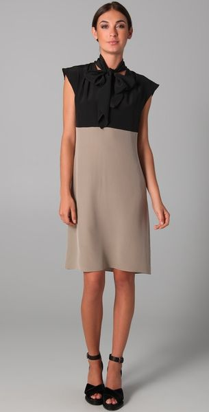 Derek Lam Cap Sleeve Necktie Dress in Gray (khaki) - Lyst