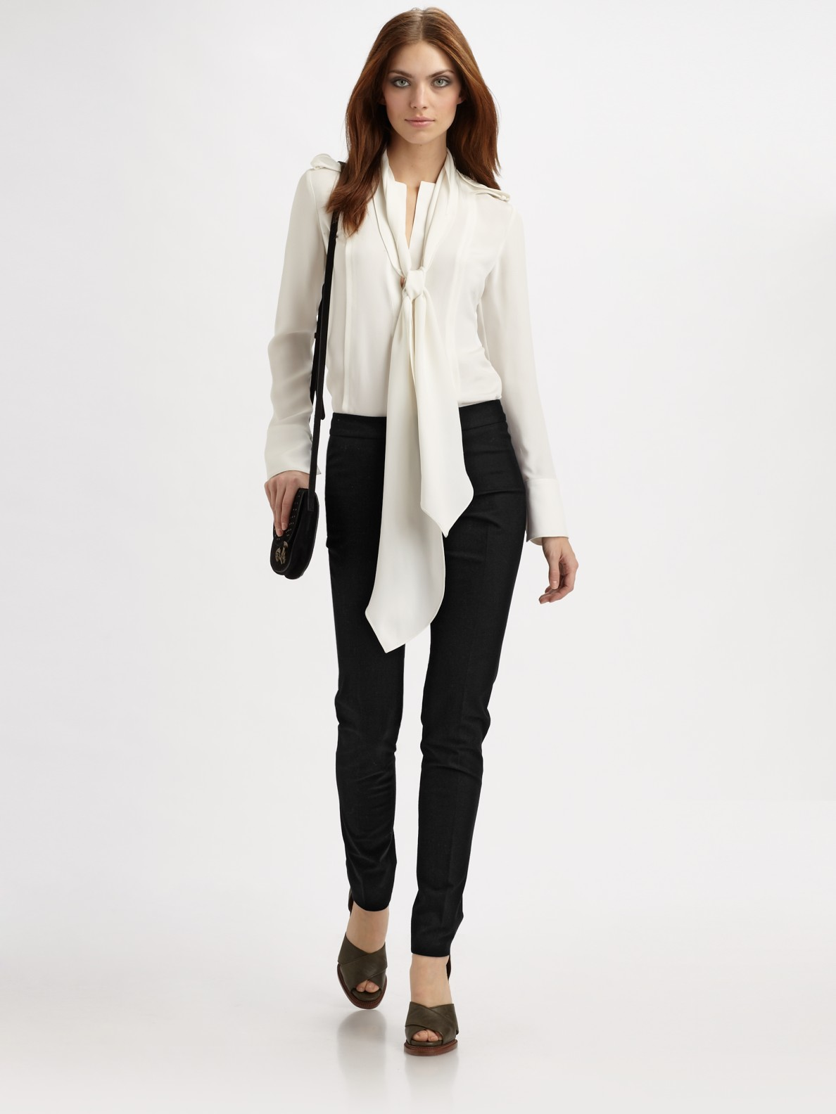 Scarf And White Blouse - Henley Blouse