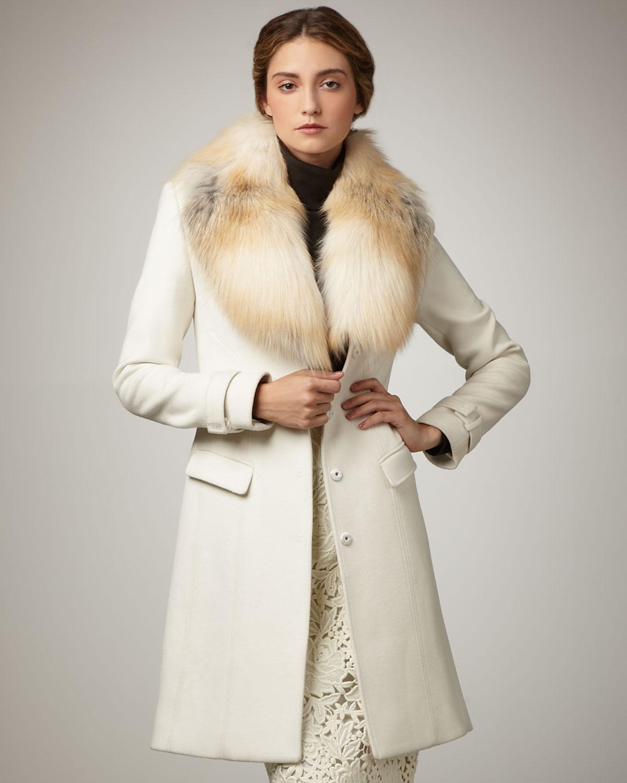 Lyst Elie Tahari Joanne Fur Trim Coat In White
