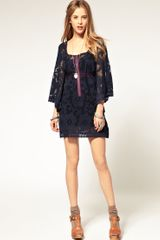 Free People Antique Lace 60s Shift Dress in Blue (bluesteel) - Lyst
