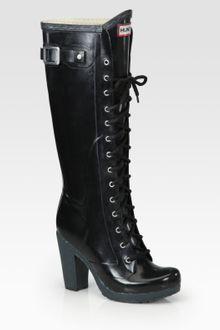 hunter labins laceup high heel rain boots in black olive