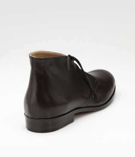 jil sander lace up flat ankle boots in brown coffee lyst