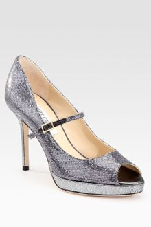 Jimmy Choo Mary Jane Glitter Pumps - Lyst