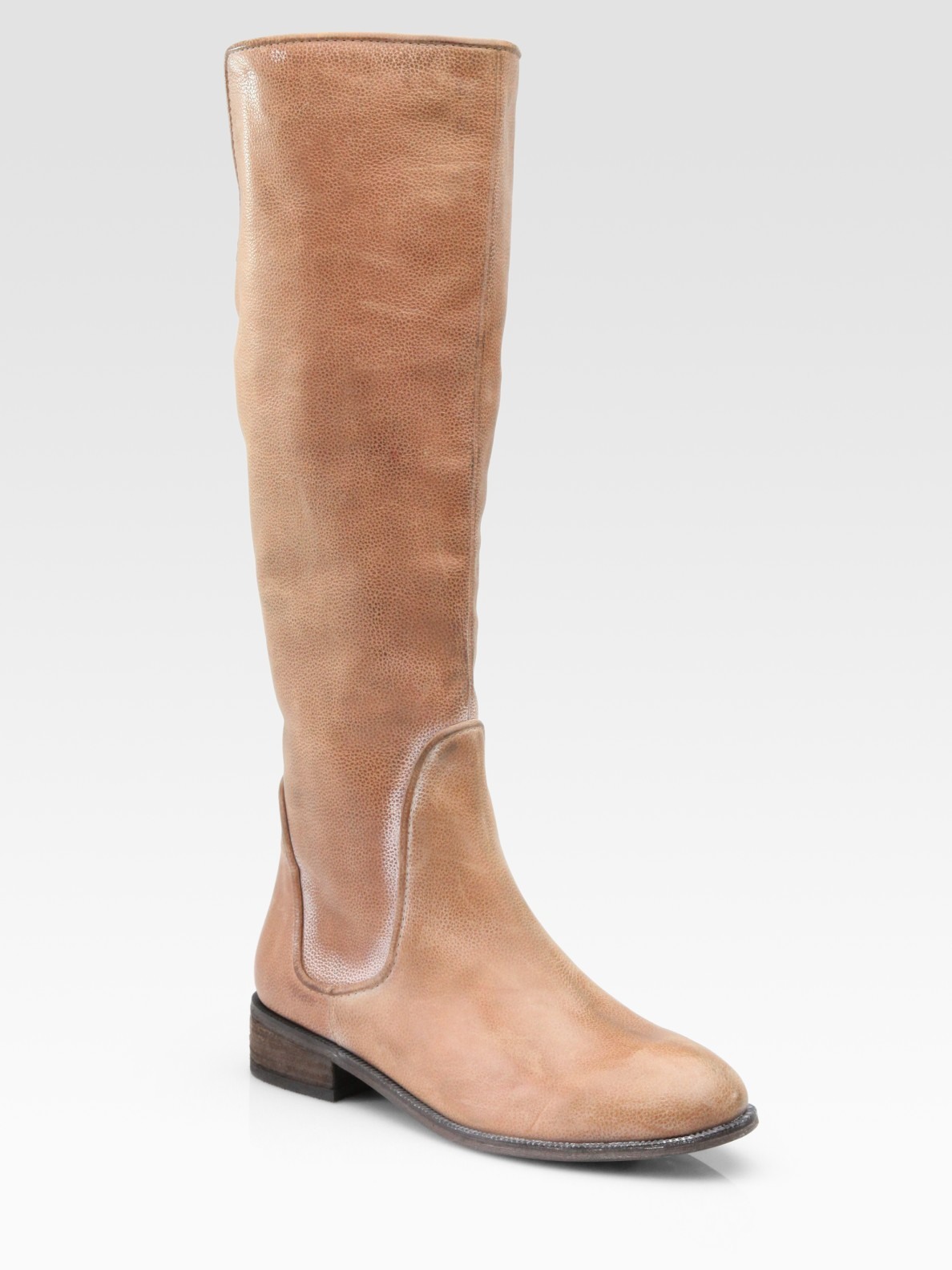 joie big time leather knee high boots in beige