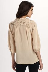 Nanette Lepore Faustina Top in Beige (cream) - Lyst