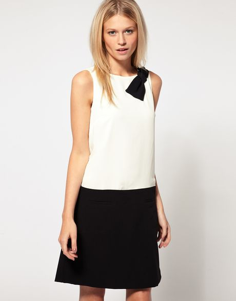 Oasis Bow Contrast Dress in Black (blackwhite) - Lyst